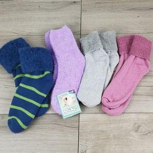 ⭐ Bundle Of 4 Cozy Fuzzy Slipper Cute Crazy Socks